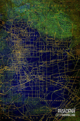 Old Map Digital Art - Pasadena Blue And Green Map Year 1896 by Pablo Franchi