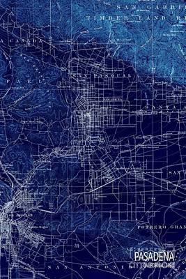 Pasadena California Old Map 1894 Blue Large Wall Art Art Print by Pablo Franchi