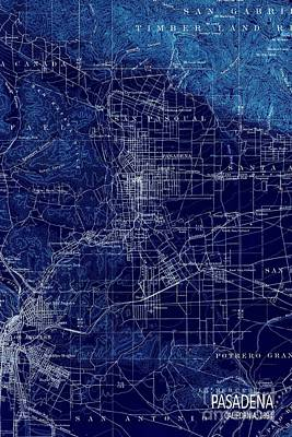 Tgif Digital Art - Pasadena California Old Map 1894 Blue Large Wall Art by Pablo Franchi