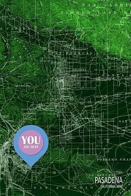 Pasadena California Old Map Blue Poster Art Print