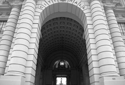 Photograph - Pasadena City Hall Black And White Entry by Matt Harang