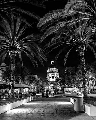 Photograph - Pasadena City Hall After Dark In Black And White by Randall Nyhof