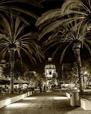 Art Print featuring the photograph Pasadena City Hall After Dark In Sepia Tone by Randall Nyhof