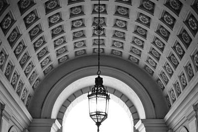 Photograph - Pasadena City Hall Entry Arch Black And White by Matt Harang