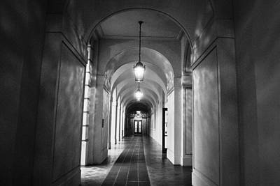 Photograph - Pasadena City Hall Hallway Black And White by Matt Harang