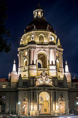 Photograph - Pasadena City Hall - Night by Rollie Robles