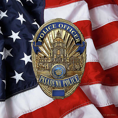 Digital Art - Pasadena Police Department -  P P D  Officer Badge Over American Flag by Serge Averbukh