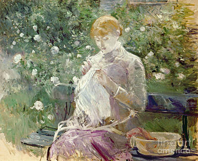 Embroidered Painting - Pasie Sewing In Bougivals Garden by Berthe Morisot