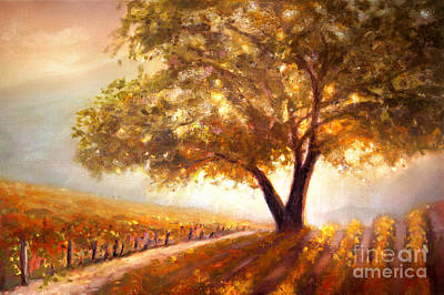 California Vineyard Painting - Paso Robles Golden Oak by Michael Rock