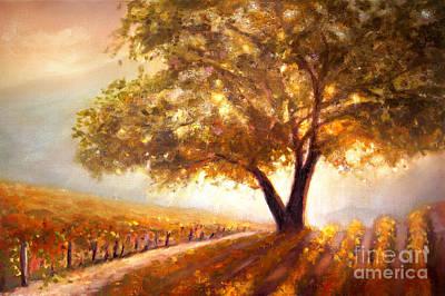 Golden Vines Painting - Paso Robles Golden Oak by Michael Rock