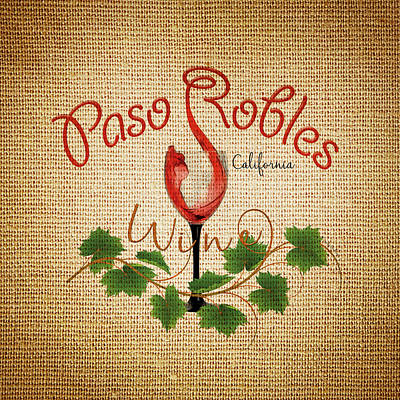 Art Print featuring the digital art Paso Robles Wine And Burlap by Cindy Anderson