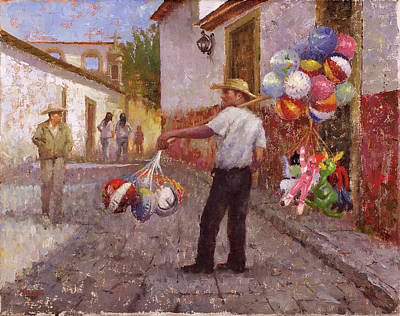 Wall Art - Painting - Pasquaro Balloon Seller by Miguel Malagon