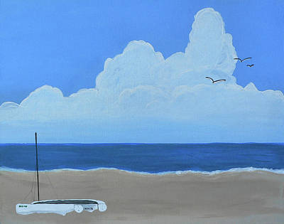 Pass Christian Ms Wall Art - Painting - Pass Beach Cat by Kathy K McClellan