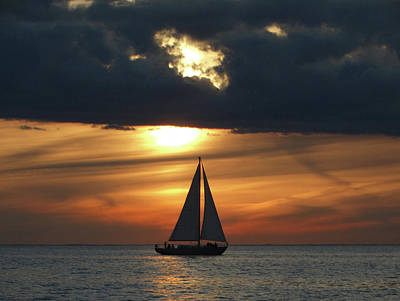Photograph - Passage North Sunset Sail by David T Wilkinson