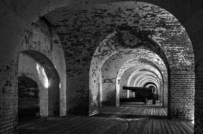 Black And White Photograph - Passageways Of Fort Pulaski In Black And White by Greg Mimbs