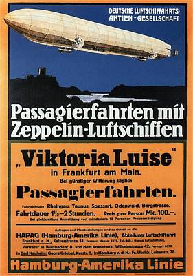 Royalty-Free and Rights-Managed Images - Passagierfahrten Mit Zeppelin-Luftschiffen - Viktoria Luise - Retro travel Poster - Vintage Poster by Studio Grafiikka