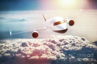 Passenger Plane Photograph - Passenger Airplane Flying At Sunset, Blue Sky. by Michal Bednarek