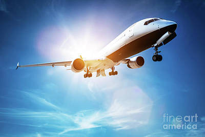 Wings Photograph - Passenger Airplane Taking Off, Sunny Blue Sky. by Michal Bednarek