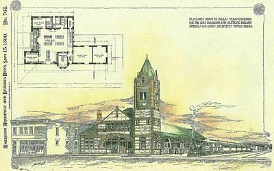 Dallas Texas Painting - Passenger Depot At Dallas Texas 1890 by Perkins and Adams