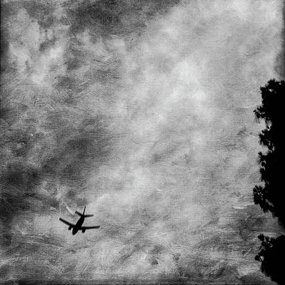 Photograph - Passenger Jet Airliner Cloudy Sky Over Burbank In Bw by YoPedro