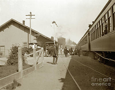 Photograph - Passenger Train At Cloverdale Circa 1910 11-10 A.m. by California Views Archives Mr Pat Hathaway Archives