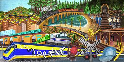 Painting - Passenger Train Evolution by Katherine Young-Beck