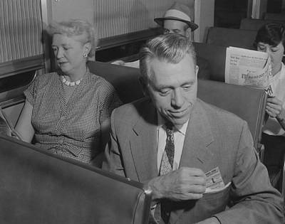 Photograph - Passengers Seated In Bilevel Car - 1958 by Chicago and North Western Historical Society