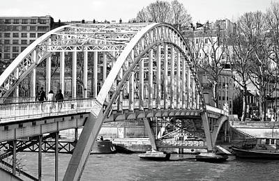 Photograph - Passerelle Debilly Pedestrian Footbridge Paris France Black And White by Shawn O'Brien