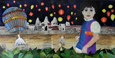 Mixed Media - Passing By Angkor Wat by Sandra Rincon