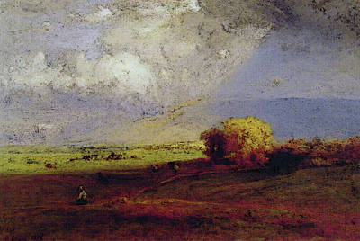 Passing Clouds Passing Shower Art Print by George Inness