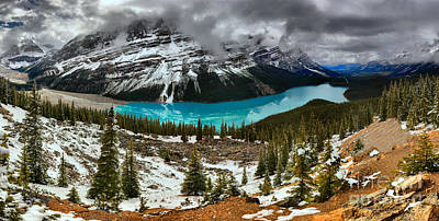 Photograph - Passing Spring Storm Over Peyto Panorama by Adam Jewell