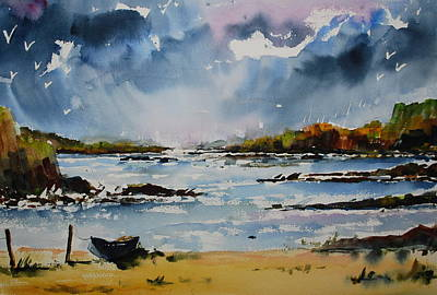 Passing Storm At Lahinch Art Print by Wilfred McOstrich