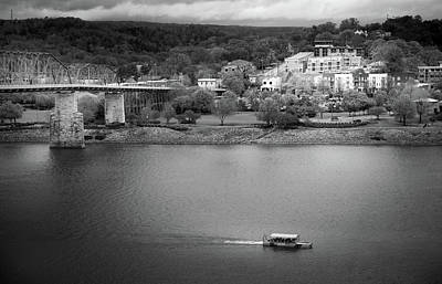 Passing Storm In Chattanooga Black And White Art Print