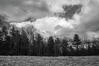 Photograph - Passing Storm Over Wachusett Meadow Wildlife Sanctuary 2 Bnw by Michael Saunders