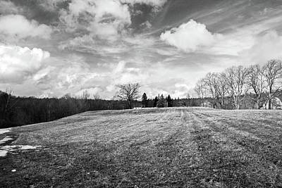 Photograph - Passing Storm Over Wachusett Meadow Wildlife Sanctuary Bnw by Michael Saunders