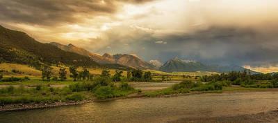 Beartooth Mountain Range Photograph - Passing Summer Storm, Yellowstone River, Paradise Valley, Absaroka Range, Montana by Joel Corley