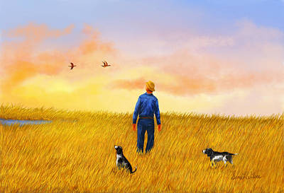 Dog In Lake Painting - Passing Through by Sena Wilson