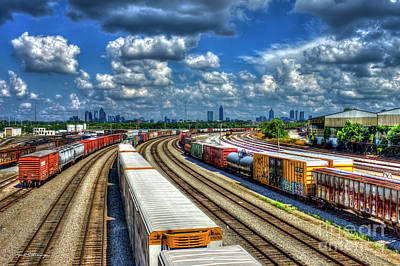 Norfolk Southern Railway Photograph - Passing Thru Atlanta Cityscape Train Parking Lot Art by Reid Callaway