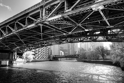 Ironworkers Photograph - Passing Under Ohio St Bridge - Chicago River by Daniel Hagerman