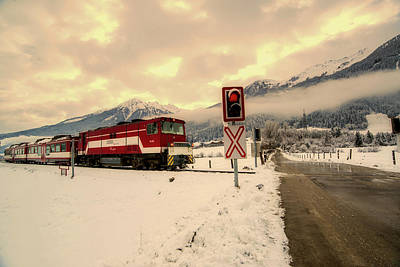 Photograph - Passing Winter Train by Peter Heeling