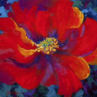 Abstract Flower Wall Art - Painting - Passion - Red Poppy by Marion Rose