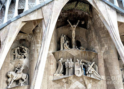Photograph - Passion Facade At Sagrada Familia Barcelona by John Rizzuto