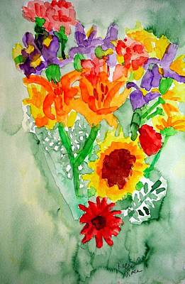 Painting - Passion Flower And Sunflower Bouquet by Rachel Rose