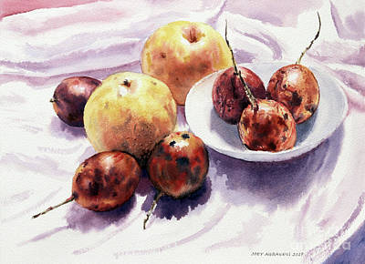 Painting - Passion Fruits And Pears 2 by Joey Agbayani