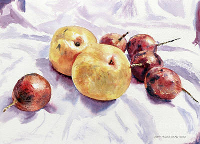 Painting - Passion Fruits And Pears by Joey Agbayani