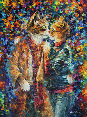 Passion Of The Cats  Art Print by leonid Afremov