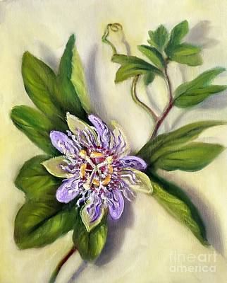 Passion Flower Vine Painting - Passion Vine Flower by Randy Burns