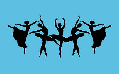 Painting - Passionate Dance Ballerina Silhouettes by Irina Sztukowski