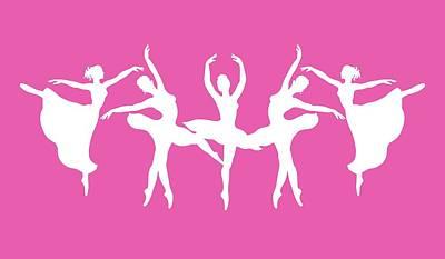 Painting - Passionate Dance Ballerinas Silhouettes In White by Irina Sztukowski