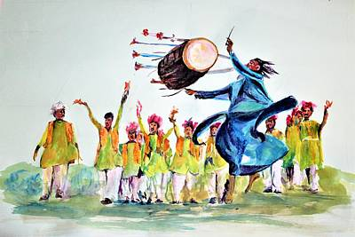 Painting - Passionate Drummer by Khalid Saeed